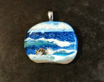 Ocean Waves Pendant, Sea Pendant, Beach Pendant,  Ocean Pendant, Unique Jewelry, Seascape, Unique Gift, Beach Lover, Painted Stone