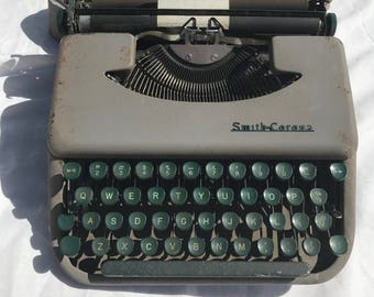 1955 Smith Corona Skywriter Portable Typewriter With Instruction Manual And Card