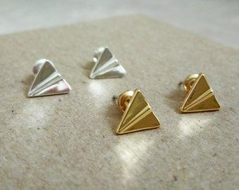 Origami Plane Stud Earrings, Paper Plane Studs, Origami Stud Earrings, Origami Airplane Earrings, Paper Plane Stud Earrings, Origami Jewelry