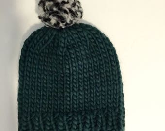Chunky Knitted Beanie Hat + Pom Pom (100% Wool) - Forest Green/Mix Contrast
