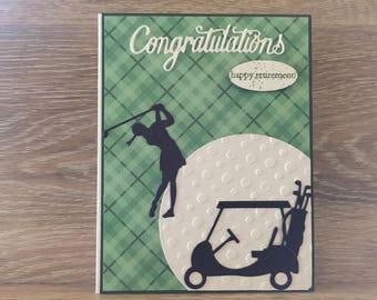 Sporty Woman Golfer Retirement Card!