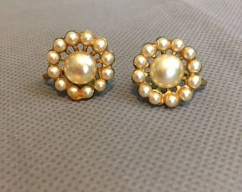 Vintage Light Yellow Faux Pearl Clip On Earrings