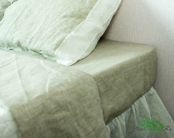 Linen Sheets Set 4pc Sheets with pillowcases Fitted sheet Flat sheet Fitted sheet queen linen Custom linen sheet Two pillowcases