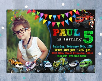 Blaze and the Monster Machines Invitation, Blaze and Monster Machines Birthday Invitation, Blaze Birthday Party Invite, Personalized JPEG
