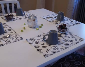 Current pattern, handmade placemat, cotton fabric