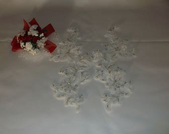White Silver/Rhinestone Beaded Flower Applique