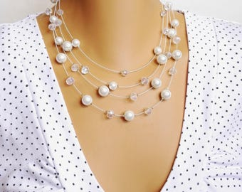 Bride Jewelry, Wedding Necklace, White pearl necklace, Crystal necklace