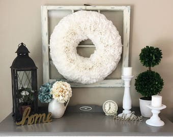 Fluffy White Coffee Filter Wreath  ***LOCAL PICKUP ONLY