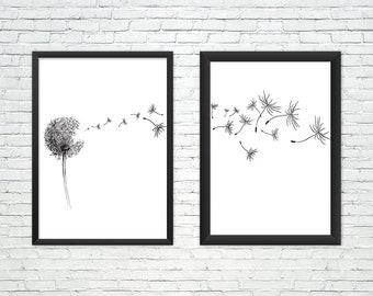 Dandelion print set of 2, dandelion printable,dandelion wall art,dandelion poster, black and white set, minimalist print,bedroom set of two