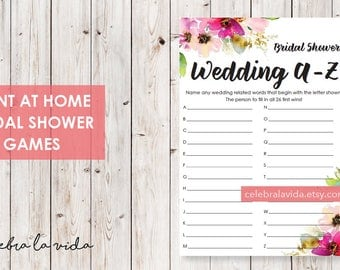Wedding A-Z Bridal Shower Game. Instant Download. Printable Bridal Shower Game. Pink Flowers. Pink - 01