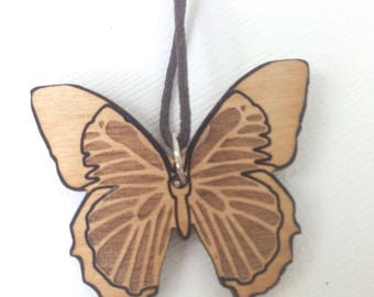 Laser cut necklace, butterfly necklace, engraved wood jewelry, custom jewelry, boho jewelry,