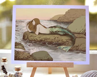 The Mermaid's Rock - drawing art print - pen and ink digital illustration