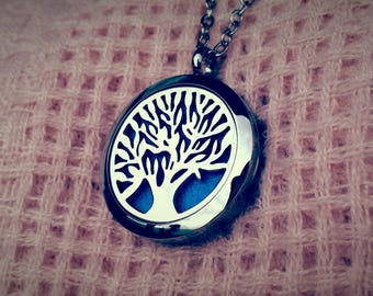 Tree of Life Aromatherapy Essential Oil Perfume Stainless Steel Magnetic Locket Necklace Pendent