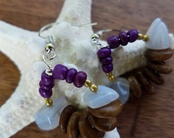 Chalcedony stone and antler earrings
