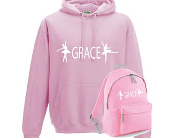 iLeisure Girls Personalised Two Dancers with Name Gymnastics/Dancers Hoody and Gym Bag Bundle