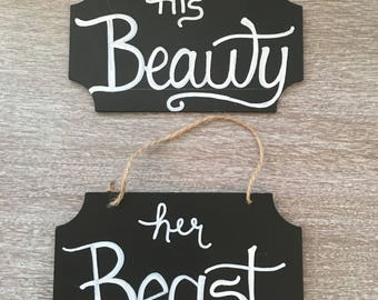 His Beauty Her Beast Chalkboard Signs