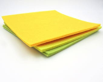 6 Yellow and Green Felt Squares. 6x6. Craft Felt. Shades of Green