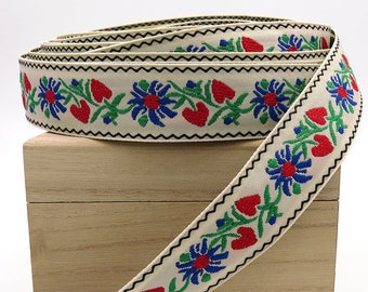 Red Heart Jacquard Ribbon. Vintage Trim. By The Yard. Embroidered Ribbon. Floral. Embellishment