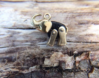 Vintage 14K and Black Onxy Elephant Charm