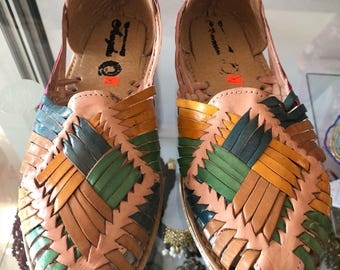 Two handmade leather huaraches size 9-9.5