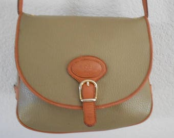 Coccinella rare saddlebag  faux leather with leather trim/Taupe orange color trim/