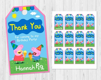 Peppa Pig THANK YOU TAG, Peppa Pig Favor Tags, Peppa Pig Gift Tag, Peppa Pig Birthday Tags, Peppa Pig Party Tag, Peppa Pig Label Tags, C-I4