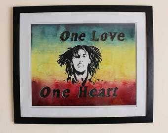 One Love (Original), Bob Marley Painting, One Love Quote Poster, Rasta Wall Art, Music Legend Poster, Bob Marley Wall Art, Celebrity Poster
