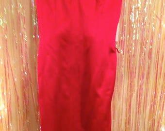 Badgley Mischka red strapless dress.