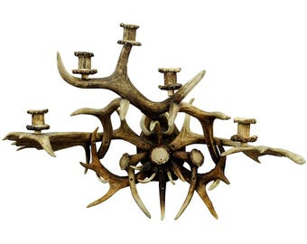 large antler sconce for 5 candles 1900