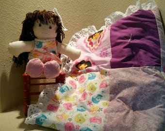 Amy Beth, Handmade Rag Doll with matching Child's Small Quilt