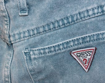 Vintage Guess? Blue-Green- High Waisted- Cut Off Shorts