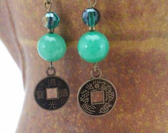 Asian coin jade colored dangle earrings