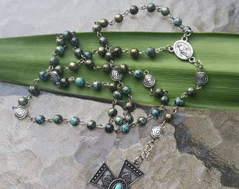 Turquoise and Gold Colored Beaded Rosary