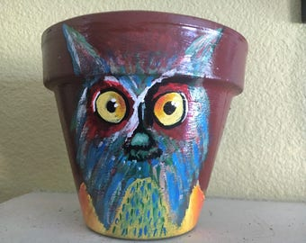 owl, art, flower pot, terra cotta art, planter, original