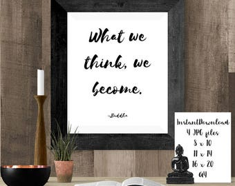 Buddha Quotes, Law of Attraction Print, Printable Buddha Poster, Manifestation Wall Decor, Word Art, Wall Art, Yoga Gift, Mindfulness, Peace