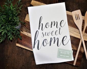 Flour Sack Kitchen Towel |  White Kitchen Towel | Dish Towel | Farmhouse Kitchen Towel | Tea Towel | Country Kitchen Towel | Home Sweet Home