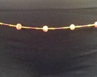 Handmade Orange Galaxy Waist Beads