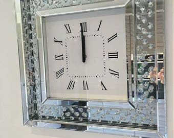 A Floating Crystal Mirrored Wall Clock