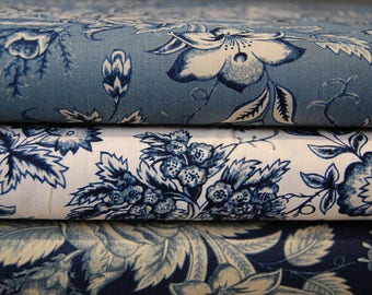 Betsy Cutchian for Moda Rachel Remembered Indigo/Antique Florals in Blue & Cream Cotton Fabric