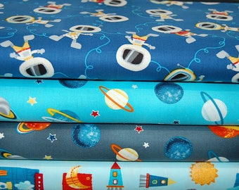 Studio E Space Adventure; Spacmen, Planets & Rockets Cotton Fat Quarter