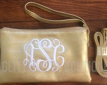 Monogram Crossbody Purse, Monogram Clutch, Monogram Purse, Bridesmaids Gift, Monogram Wristlet, Personalized Wallet Crossbody