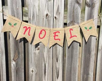 Christmas Banner - Noel Banner - Holly Banner - Christmas Photo Prop - Christmas Decor - Christmas Mantle - Christmas