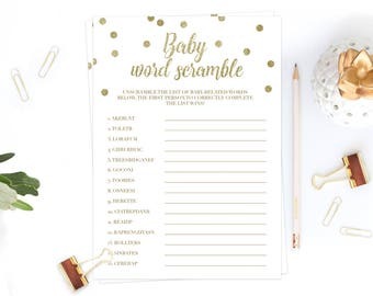 DIY Baby Shower Activity Baby Word Scramble Game Gold Baby Shower Word Scramble Game Baby Shower Activities Baby Shower Themes Neutral GCO