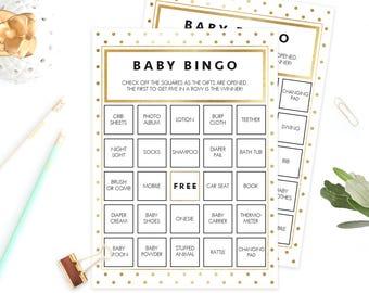 Gold Baby Bingo Confetti, Baby Shower Games Printable, Printable Bingo Cards, Gold Foil Look, Baby Bingo Prefilled Editable Template PDF GD1