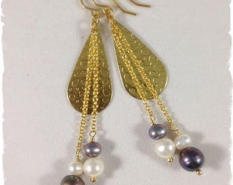 Freshwater Pearl & Brass Earrings