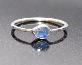Raw Sapphire Ring in Sterling Silver