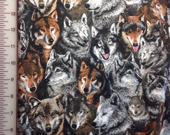 1/2 yard / Wolf Fabric / Nature / Wildlife / 100% Cotton / Grey Black Brown / Shamash and Sons