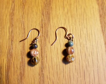 Natural Stone Earrings Jewelry, Jasper With Copper Wire Earth Tone