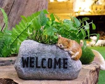 Cute welcome cat Pot,Garden Dec,Flower Pot ,Flower Planter, Planter Display LG0828-A1