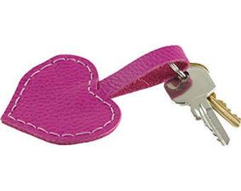 Leather Key Ring Leather Keychain Ladies Key Ring Heart shaped Key Ring Heart Key Ring